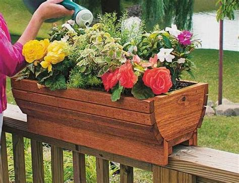 banister planters wood work wooden deck rail planters pdf plans