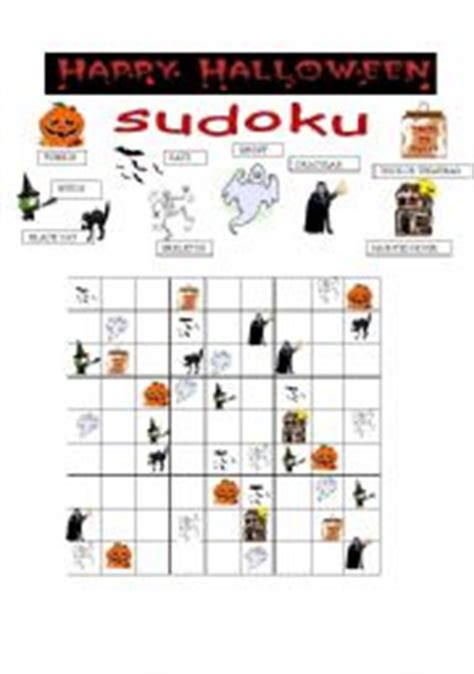 printable halloween sudoku english worksheet halloween sudoku