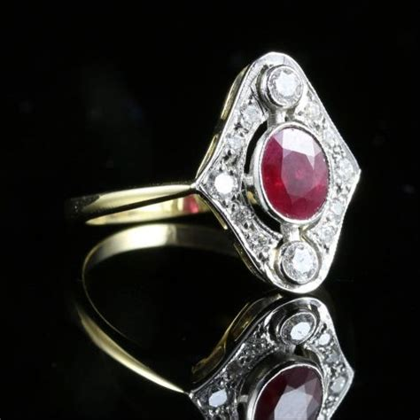 Blood Ruby 14 75ct fabulous 0 75ct ruby cut oval cluster 18ct ring
