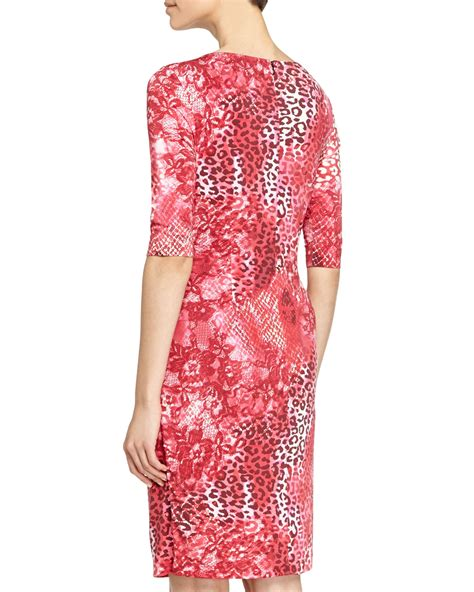 Print Sleeves Dress marc valvo half sleeve leopard print dress lyst