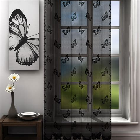 black butterfly curtains butterfly black voile panel voile panels curtains