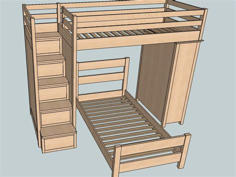 Bunk Bed Plans With Stairs Free Bunk Bed With Stairs Building Plans Woodworking Plans