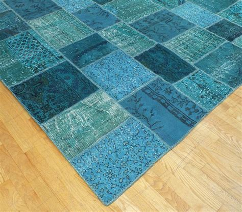 Patchwork Products - rugsville overdyed patchwork teal wool 17023 rug