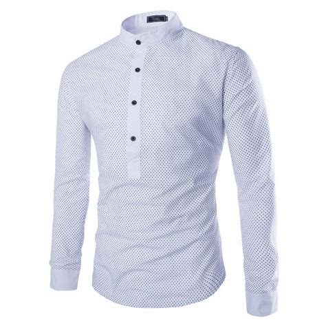 Pattern Chinese Shirt | men social linen shirts half button placket long sleeve