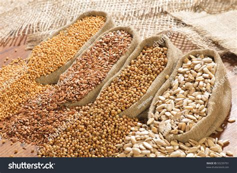 seeds mustard flax coriander sunflower spilled stock photo