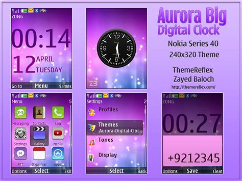 nokia x2 watch themes aurora big digital clock theme for nokia x2 240 215 320