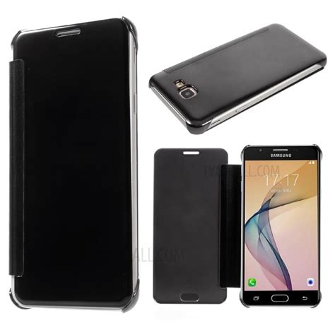 Lc Leather Samsung J7 Prime 1 electroplating mirror surface plastic leather for samsung galaxy on7 2016 j7 prime black