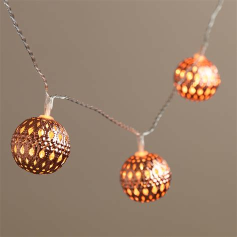 Copper Orb Led 10 Bulb Battery Operated String Lights Market String Lights