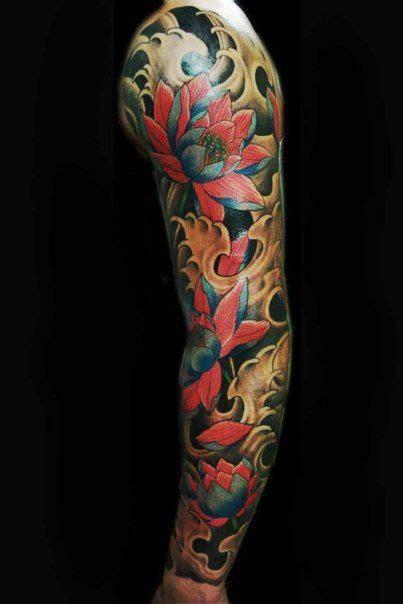 tattoo oriental loto red lotus flower japanese tattoo sleeve tatuaje japones