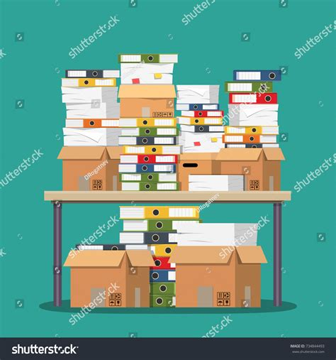 Heap Office by Pile Paper Documents File Folders On Stock Vector