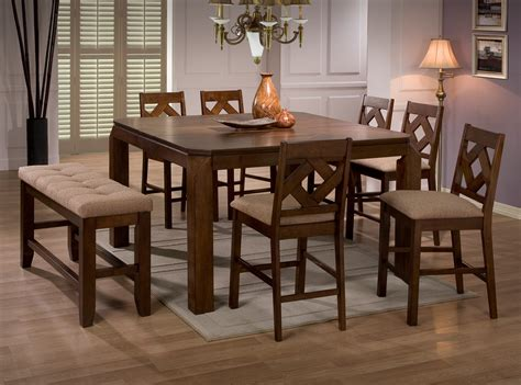 pub bench coaster furniture chapman collection walnut 8 piece dining