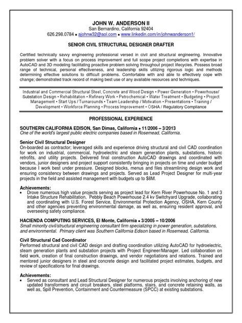 senior civil engineer resume sle structural engineer resume sle 28 images structural