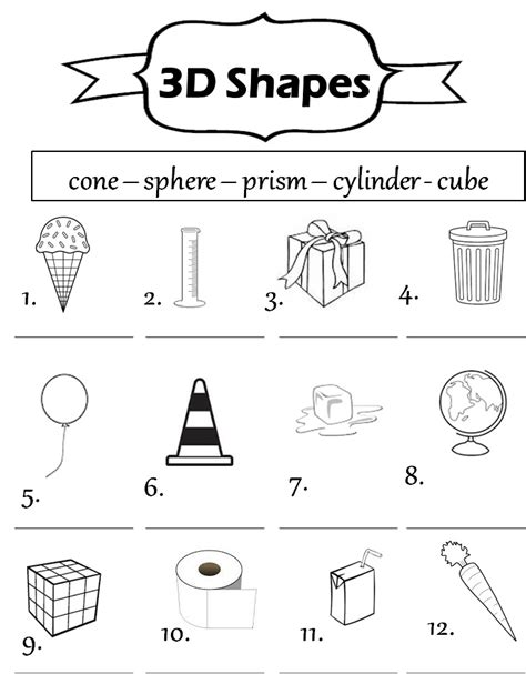 worksheets shapes grade 2 3d shapes worksheets 1st grade worksheets for all