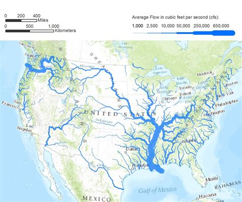 map of the united states with rivers and mountains flow rates a map of the united states illustrating flow