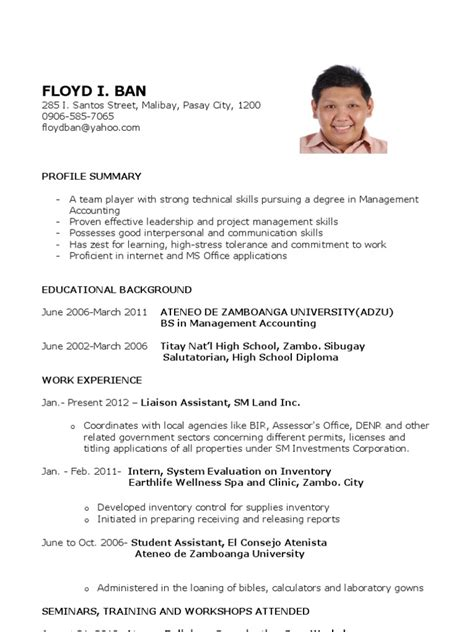 Sle Of Resume For Fresh High School Graduate Sle Resume For Fresh Graduates Accounting Science And Technology