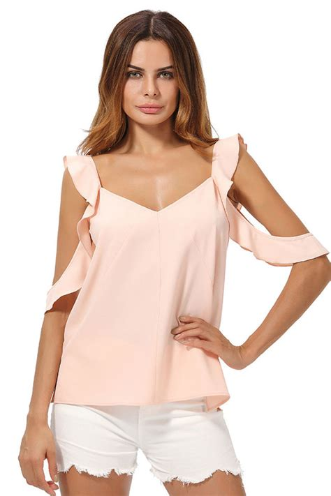 Shoulder Tank Blouse Pink 24 99 pink cold shoulder blouse