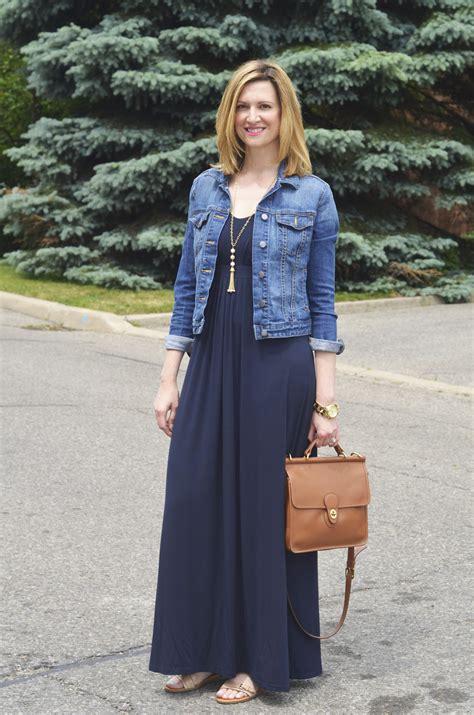 how to dress denim jacket with maxi dress designers
