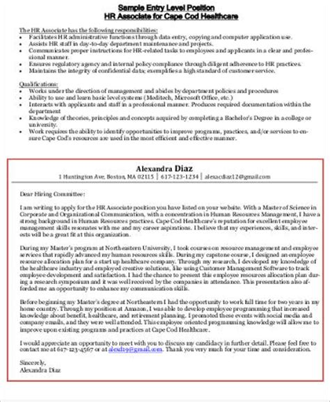 entry level human resources cover letter sle human resources cover letter 7 exles in word pdf