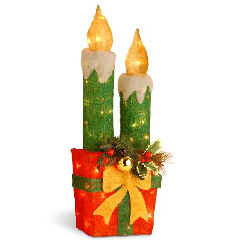 national tree company pre lit 30 quot sisal candle and gift