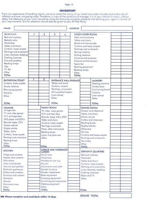insurance inventory list template printable home inventory worksheet personal insurance home