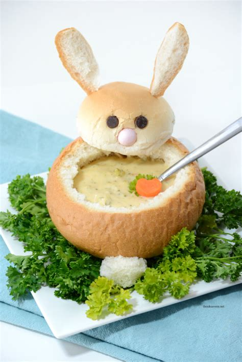 easter bunny bread dip bowl  organised housewife
