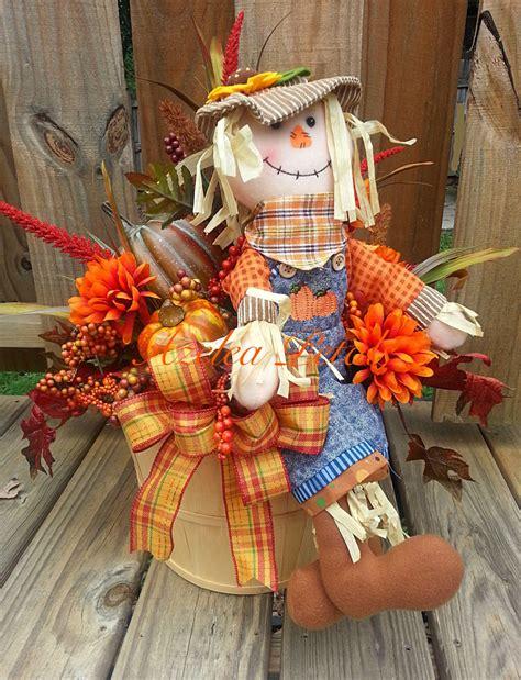 scarecrow decorations fall fall scarecrow bushel basket with pumpkins fall arrangement