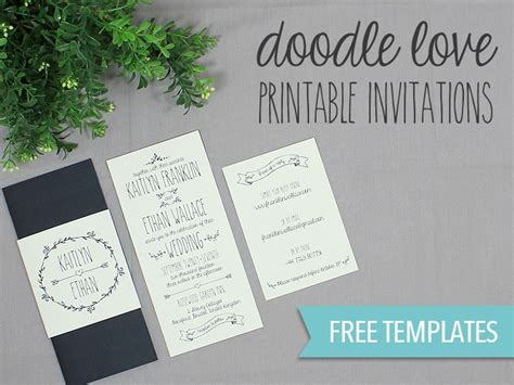 diy wedding invitations free templates diy tutorial free printable doodle wedding invitation set
