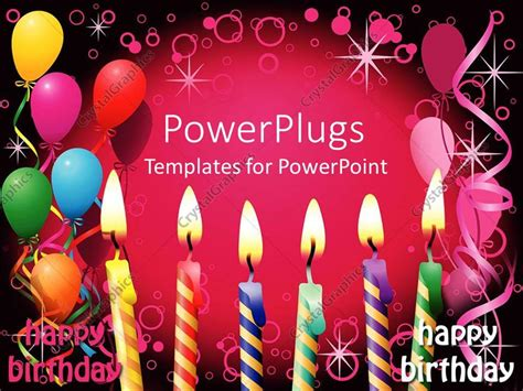 birthday templates for powerpoint free download powerpoint template six lit birthday candles balloons