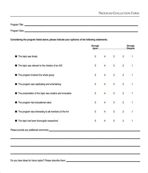 evaluation template sle program evaluation 6 free documents in pdf