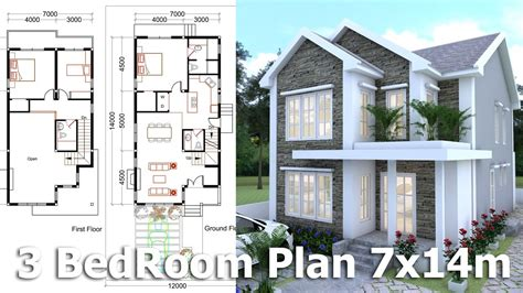 home design story youtube sketchup modeling home plan 7x14m youtube