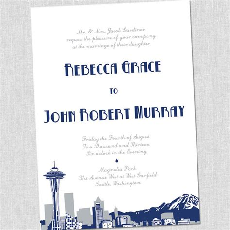 Wedding Invitations Seattle by Items Similar To Seattle Wedding Invitations Set Sle