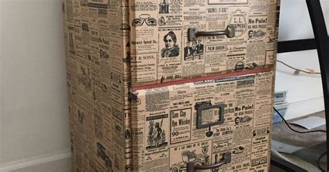 decoupage newspaper file cabinet upcycle with wrapping paper hometalk