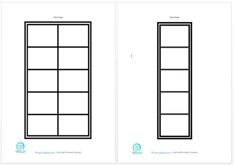 10 frame template printable printable five and ten frames to teach counting skills
