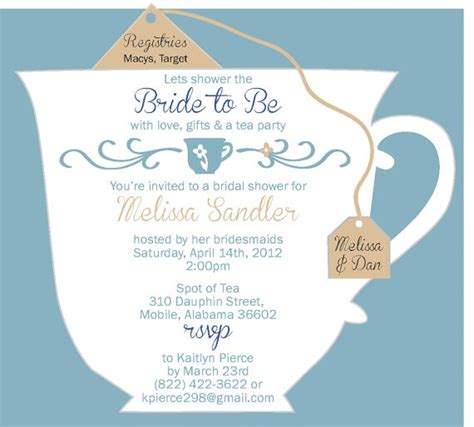 free bridal shower tea invitation templates bridal shower tea cup invitation bridal shower