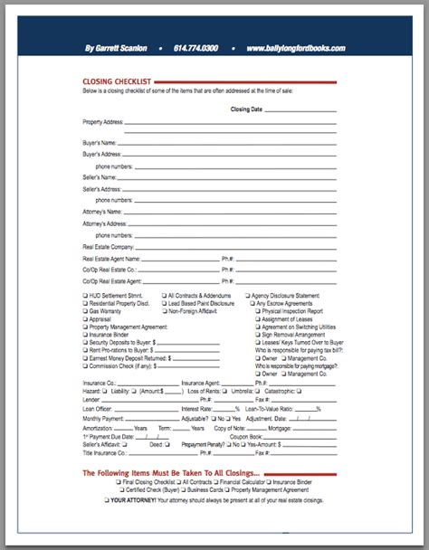 Real Estate Closing Checklist Template by Real Estate Closing Checklist Template Image Collections