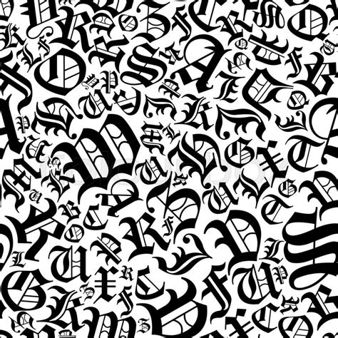 animal pattern font black alphabet letters seamless pattern in a gothic german