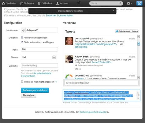 artikel layout joomla twitter widget in joomla einbinden