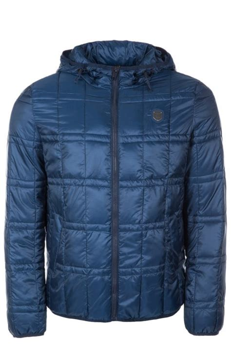 Hooded Quilted Coats Outerwear by Antony Morato Quilted Hooded Jacket Blue Intro Clothing