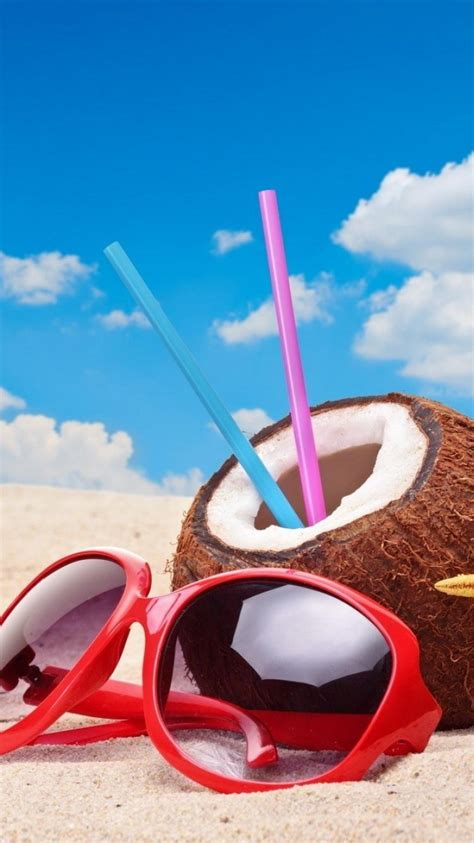 beach sand sunglasses straws starfish coconut blue skies