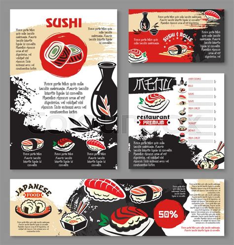 japanese menu card template japanese seafood restaurant poster and banner template