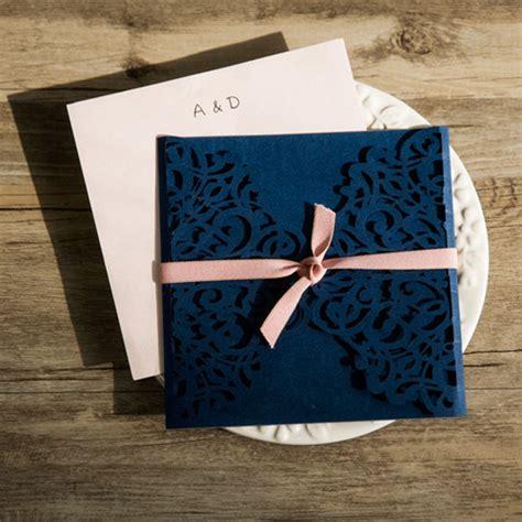 Hochzeitseinladung Blau by Navy Blau Laser Ausschnitt Hochzeitseinladungen Kpl198