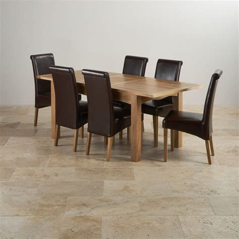 solid oak dining table and 6 leather chairs cairo extending dining set in oak table 6 leather chairs