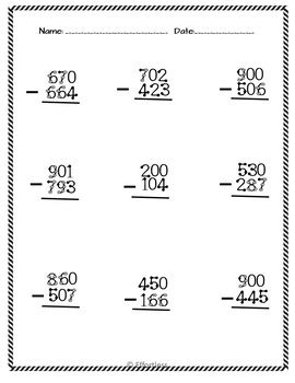 substraction across zeros worksheet touch math subtraction worksheets subtraction across