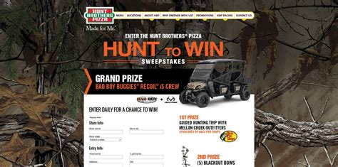 Enter Phone Number To Win Sweepstakes - enter the hunt brothers pizza hunt to win sweepstakes at huntbrotherspizza com