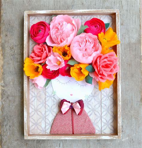 fiori quadro quadro con volto e fiori di carta juliet la figurina shop