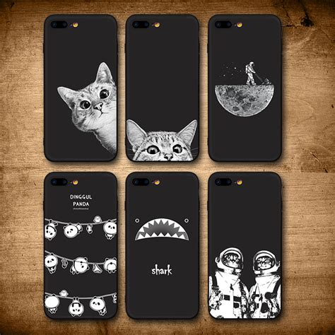 iiozo case  iphone    cute cat space moon cat man pandas shark animal black phone