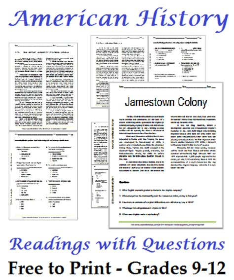 Free History Worksheets For Middle School by List Of American History Readings Worksheets For High