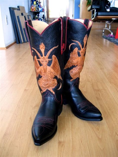 Custom Handmade Work Boots - handmade leather boots with a baphomet design the