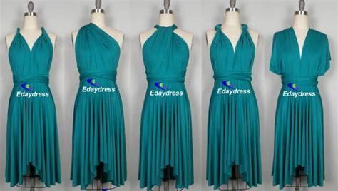 teal infinity dress multiway asymmetrical front and back high and low knee