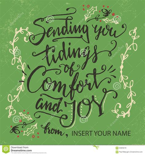 comfort joy sending you tidings of comfort and joy stock vector